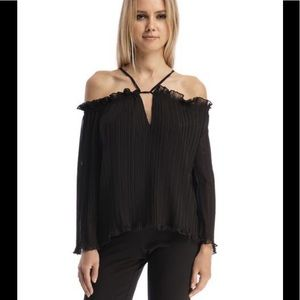 NWT Walter Baker Fritz pleated off shoulder Top